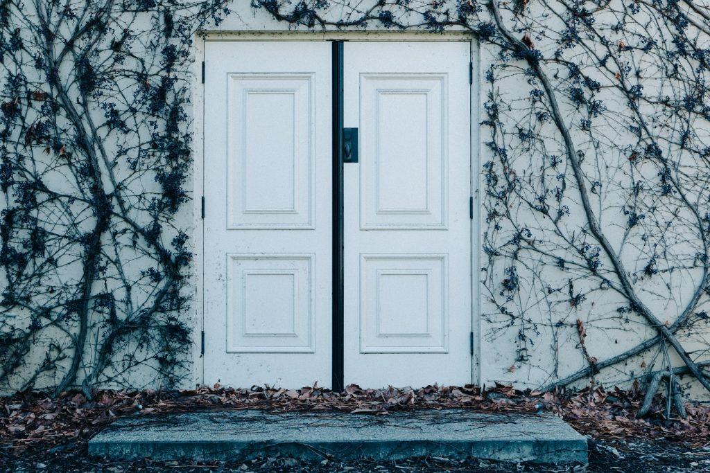 double porte blanche d'entrée